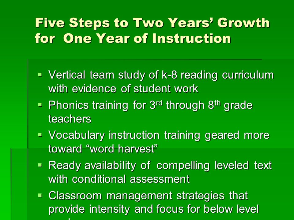 Five Steps to Two Years' Growth for One Year of Instruction  Vertical team study of k-8 reading curriculum with evidence of student work  Phonics training for 3 rd through 8 th grade teachers  Vocabulary instruction training geared more toward word harvest  Ready availability of compelling leveled text with conditional assessment  Classroom management strategies that provide intensity and focus for below level readers