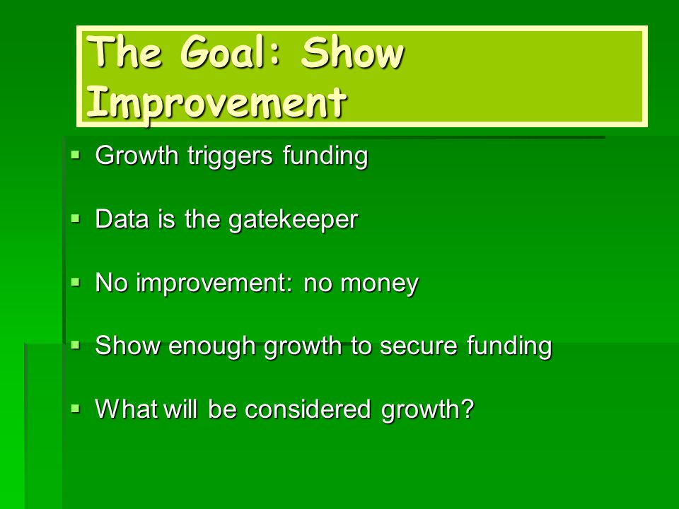 The Goal: Show Improvement  Growth triggers funding  Data is the gatekeeper  No improvement: no money  Show enough growth to secure funding  What will be considered growth