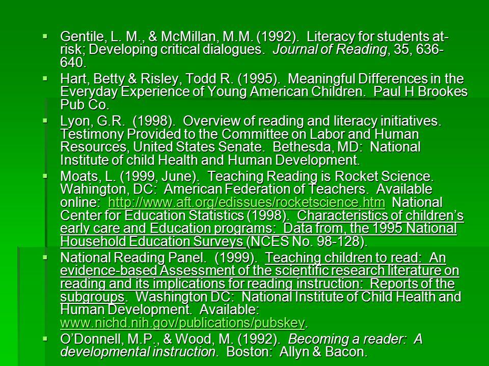  Gentile, L. M., & McMillan, M.M. (1992).
