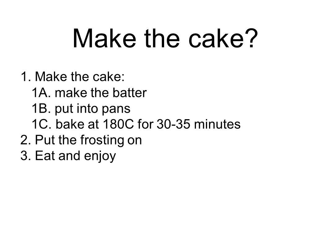 Make the cake. 1. Make the cake: 1A. make the batter 1B.