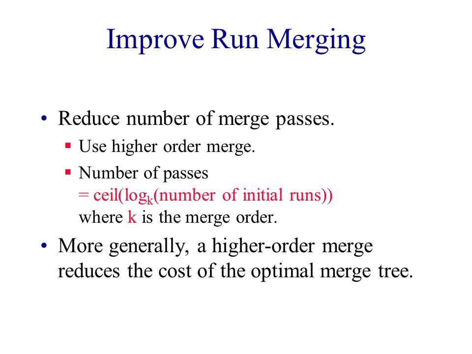 Improve Run Merging Overlap input, output, and internal merging. DISK MEMORY DISK
