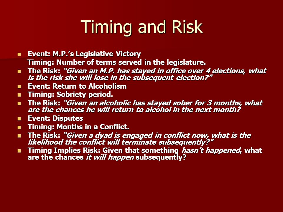 Timing and Risk Event: M.P.'s Legislative Victory Event: M.P.'s Legislative Victory Timing: Number of terms served in the legislature. Timing: Number