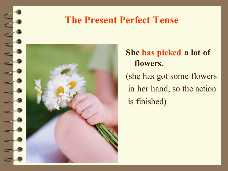 The Present Perfect Tense We use the present perfect tense: for actions which have recently finished and their results are visible in the present. The
