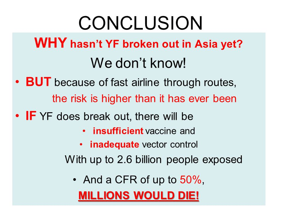 CONCLUSION WHY hasn't YF broken out in Asia yet. We don't know.