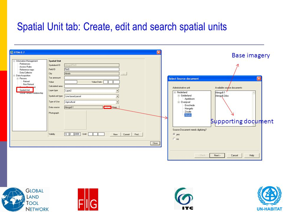 Spatial Unit tab: Create, edit and search spatial units Base imagery Supporting document