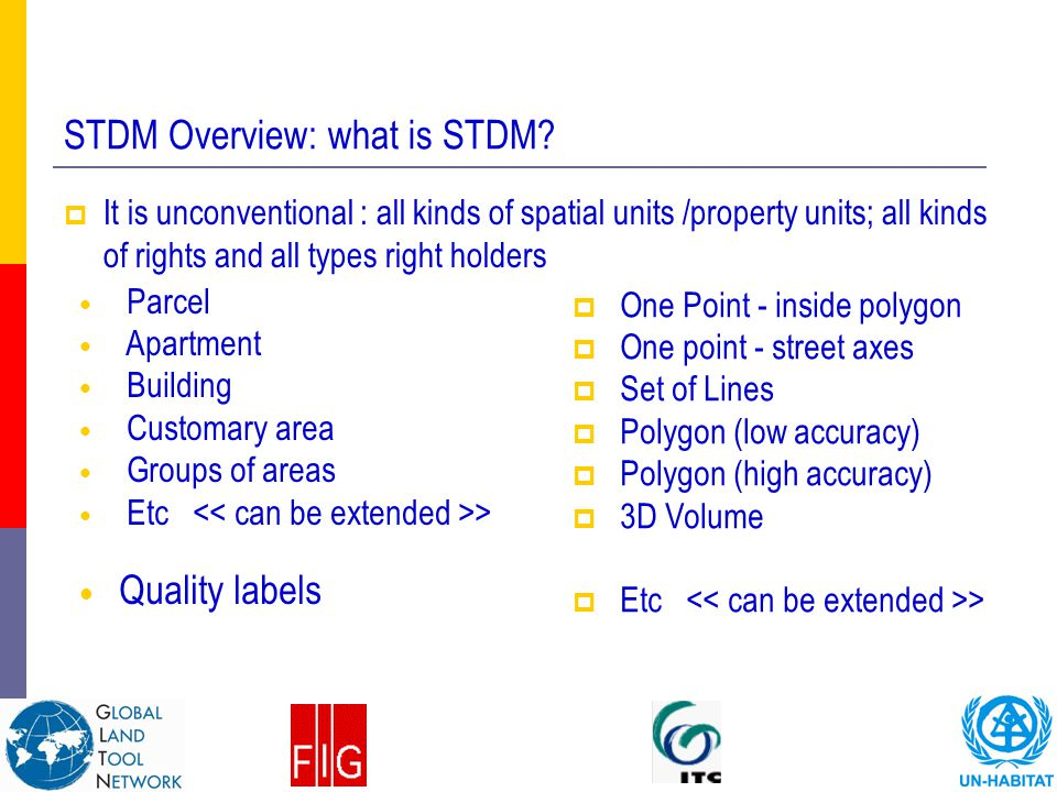 STDM Overview: what is STDM?  It is unconventional : all kinds of spatial units /property units; all kinds of rights and all types right holders Parc