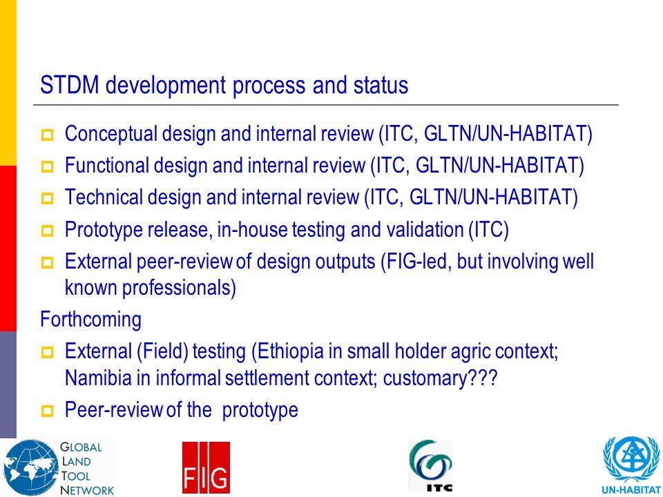 STDM development process and status  Conceptual design and internal review (ITC, GLTN/UN-HABITAT)  Functional design and internal review (ITC, GLTN/