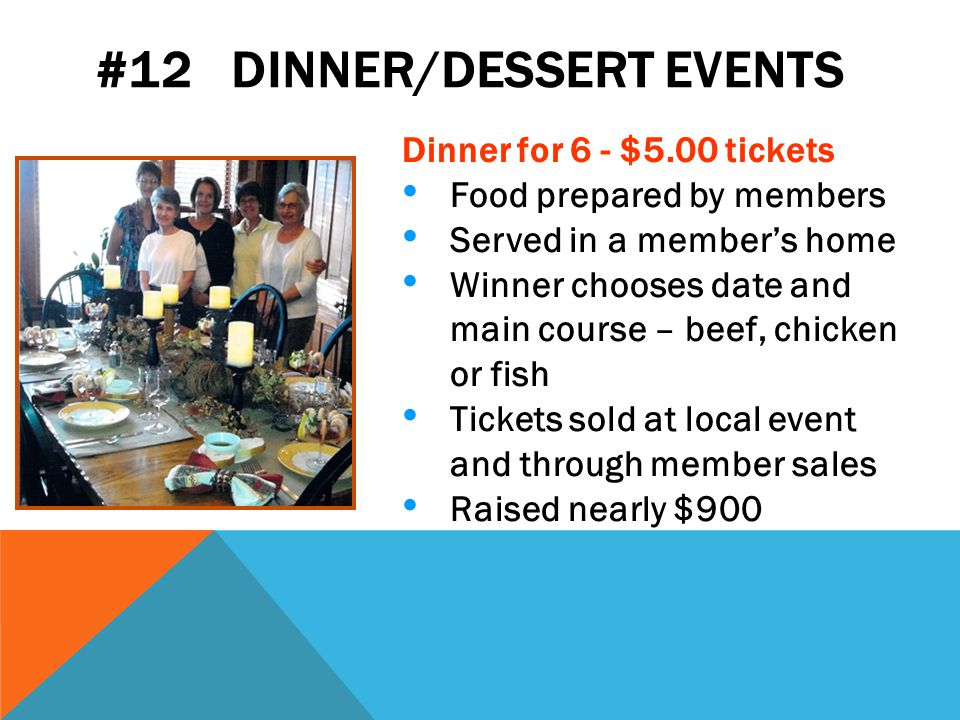 #12 DINNER/DESSERT EVENTS Dinner for 6 - $5.00 tickets Food prepared by members Served in a member's home Winner chooses date and main course – beef, chicken or fish Tickets sold at local event and through member sales Raised nearly $900