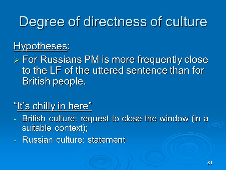 31 Degree of directness of culture Hypotheses:  For Russians PM is more frequently close to the LF of the uttered sentence than for British people.