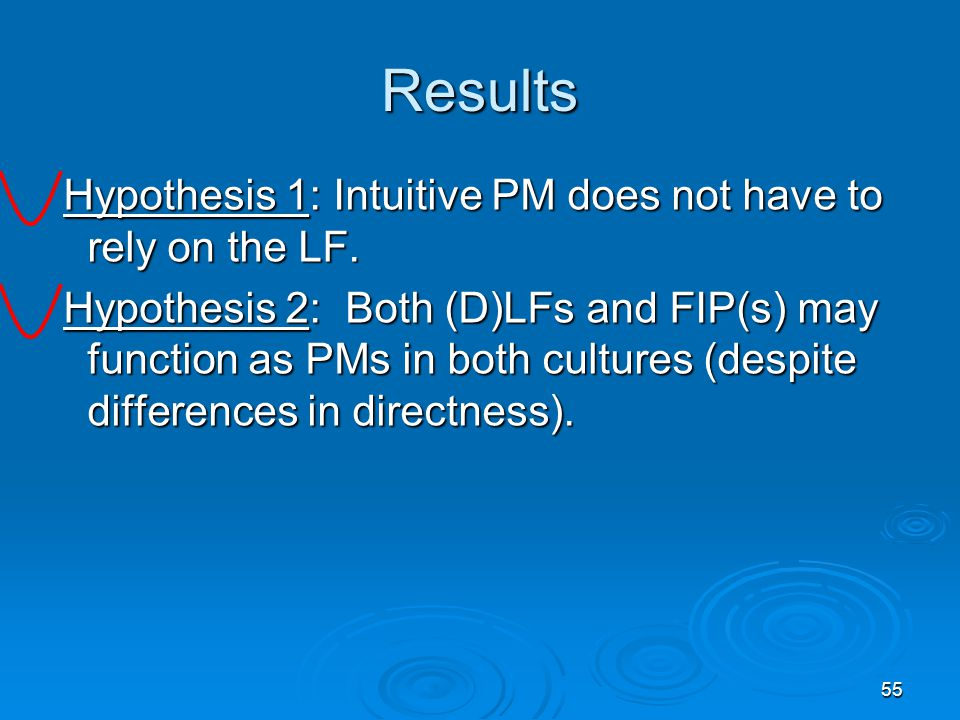 55 Results Hypothesis 1: Intuitive PM does not have to rely on the LF.