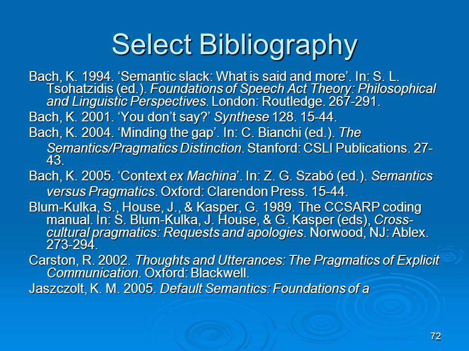 72 Select Bibliography Bach, K. 1994. 'Semantic slack: What is said and more'.