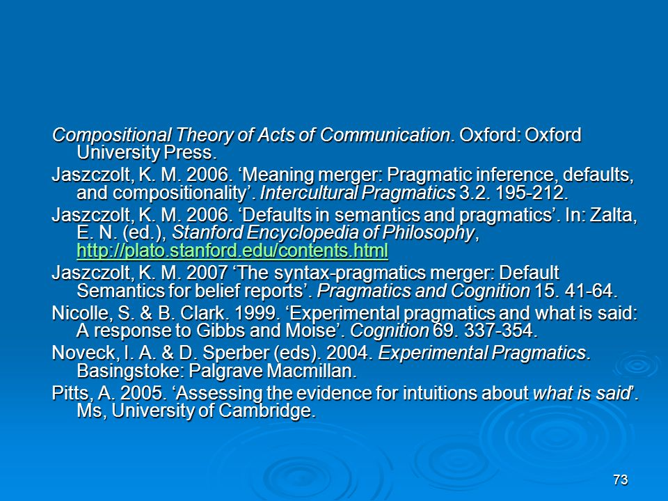 73 Compositional Theory of Acts of Communication. Oxford: Oxford University Press.