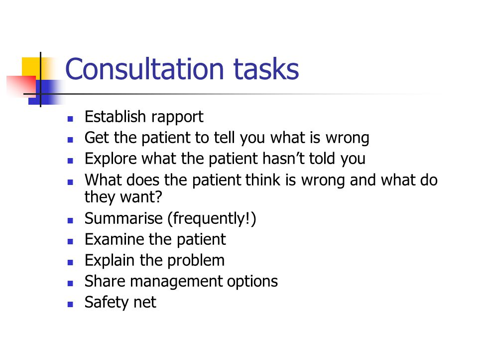 Consultation tasks Establish rapport Get the patient to tell you what is wrong Explore what the patient hasn't told you What does the patient think is wrong and what do they want.