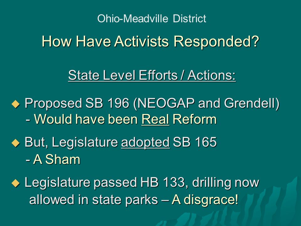 Ohio-Meadville District How Have Activists Responded.