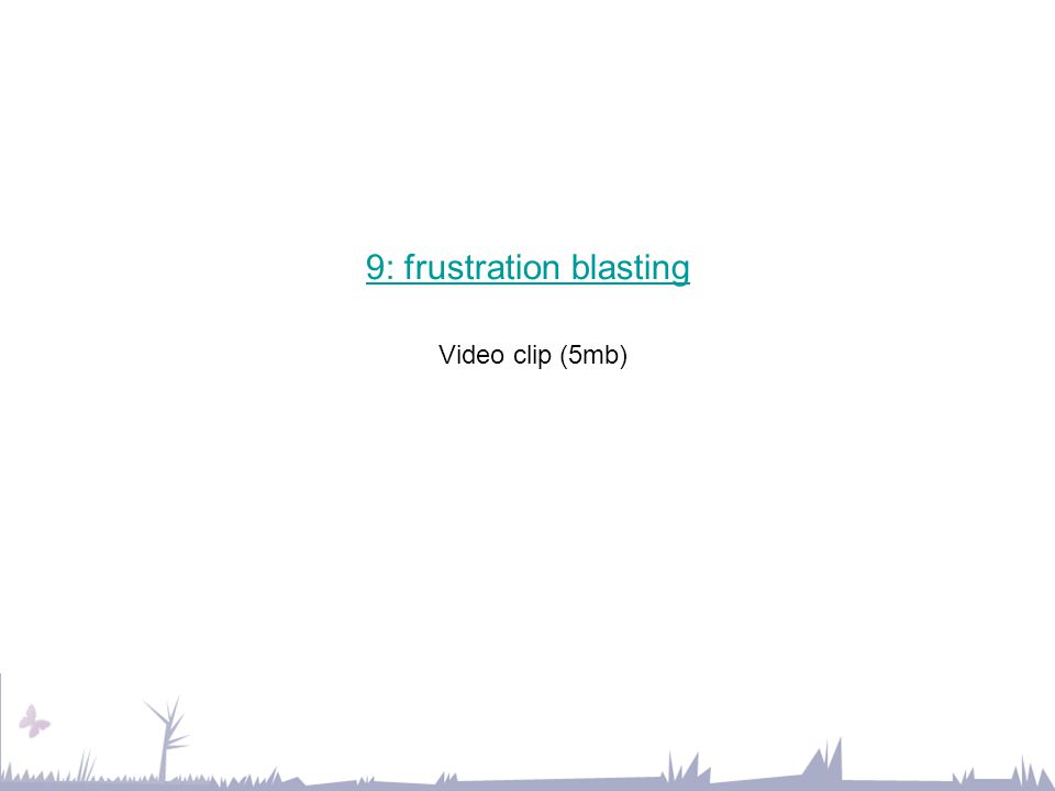9: frustration blasting 9: frustration blasting Video clip (5mb)