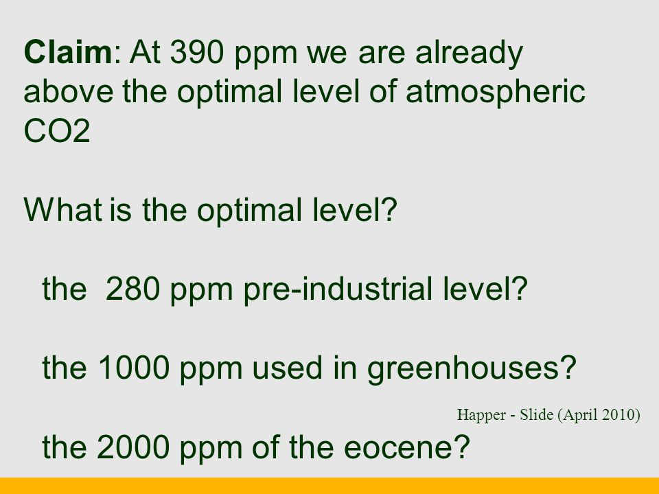 Claim: At 390 ppm we are already above the optimal level of atmospheric CO2 What is the optimal level.