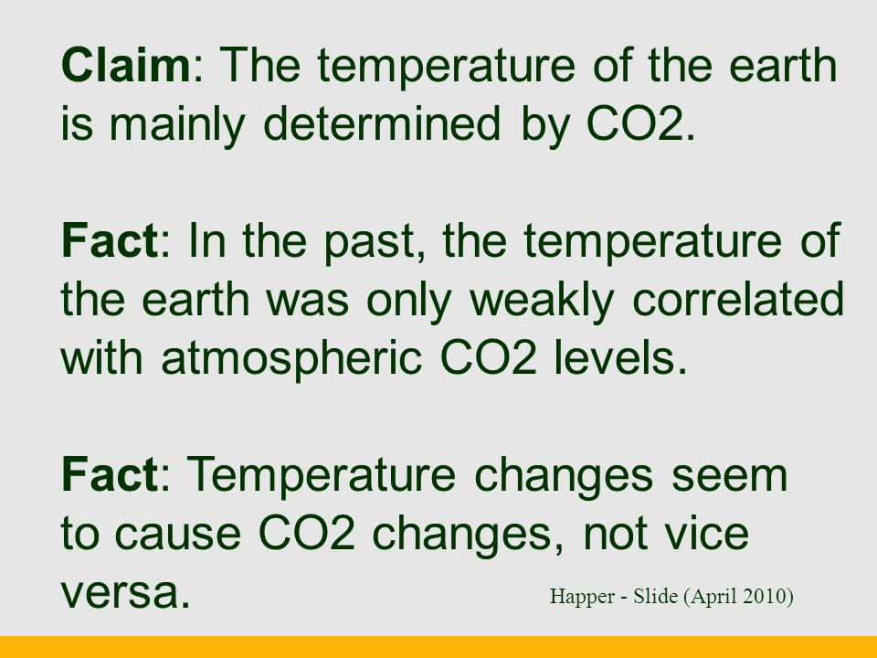 Claim: The temperature of the earth is mainly determined by CO2.