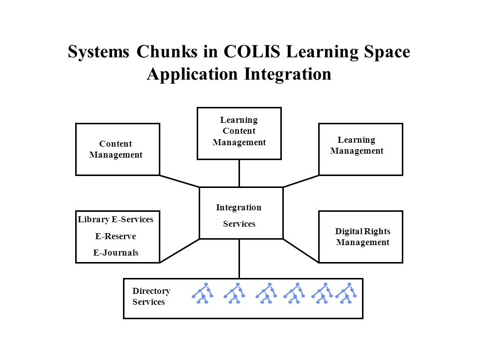 Systems Chunks in COLIS Learning Space Application Integration Content Management Library E-Services E-Reserve E-Journals Integration Services Learning Management Digital Rights Management Directory Services Learning Content Management