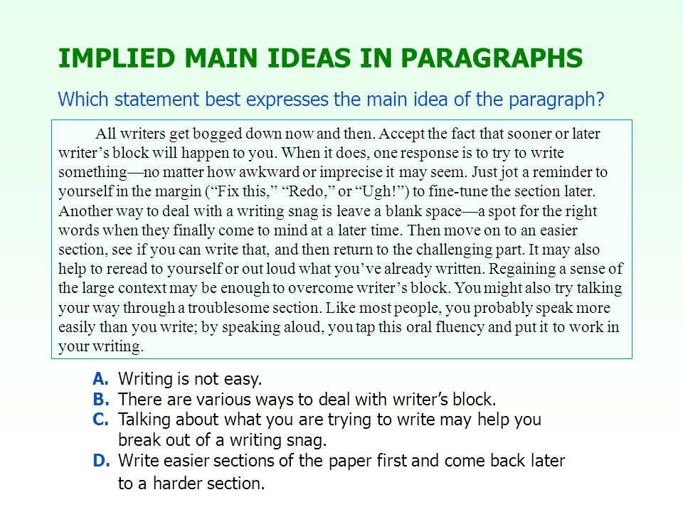A.Writing is not easy. B.There are various ways to deal with writer's block.
