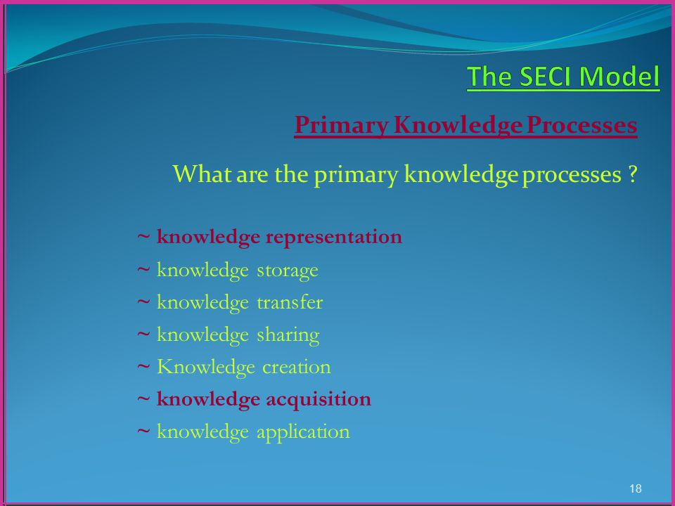 Primary Knowledge Processes What are the primary knowledge processes .