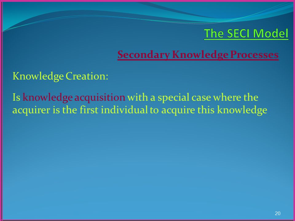 Secondary Knowledge Processes Knowledge Creation: Is knowledge acquisition with a special case where the acquirer is the first individual to acquire this knowledge 20