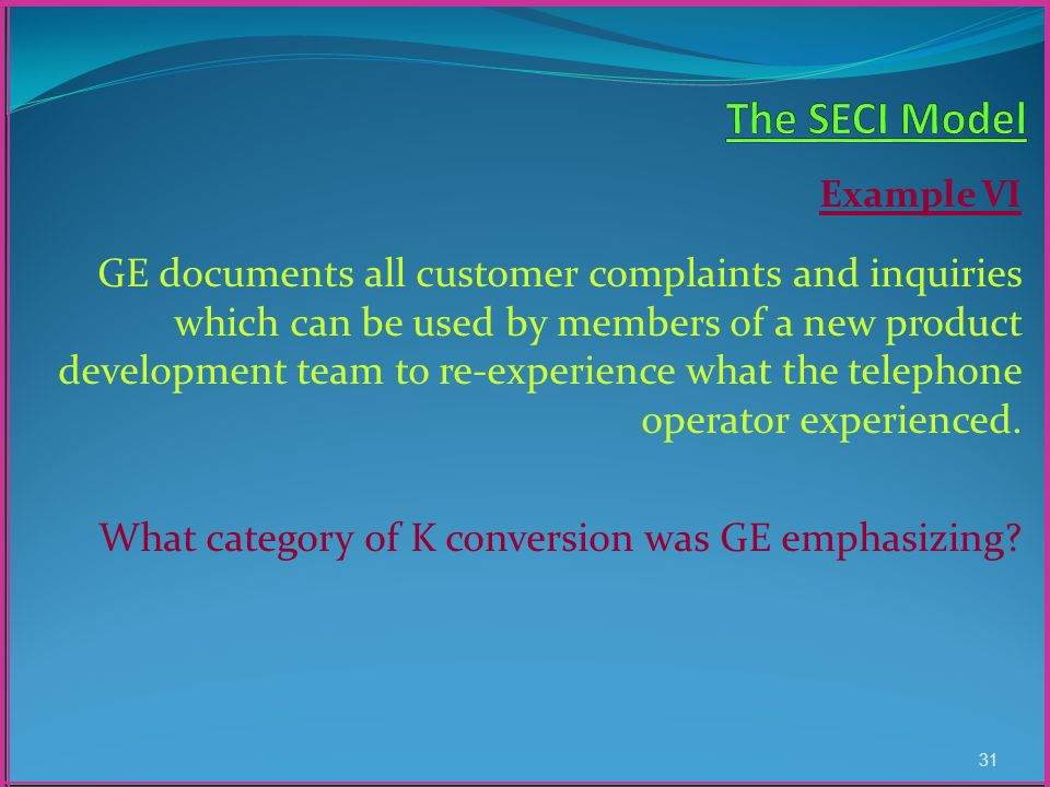 Example VI GE documents all customer complaints and inquiries which can be used by members of a new product development team to re-experience what the telephone operator experienced.
