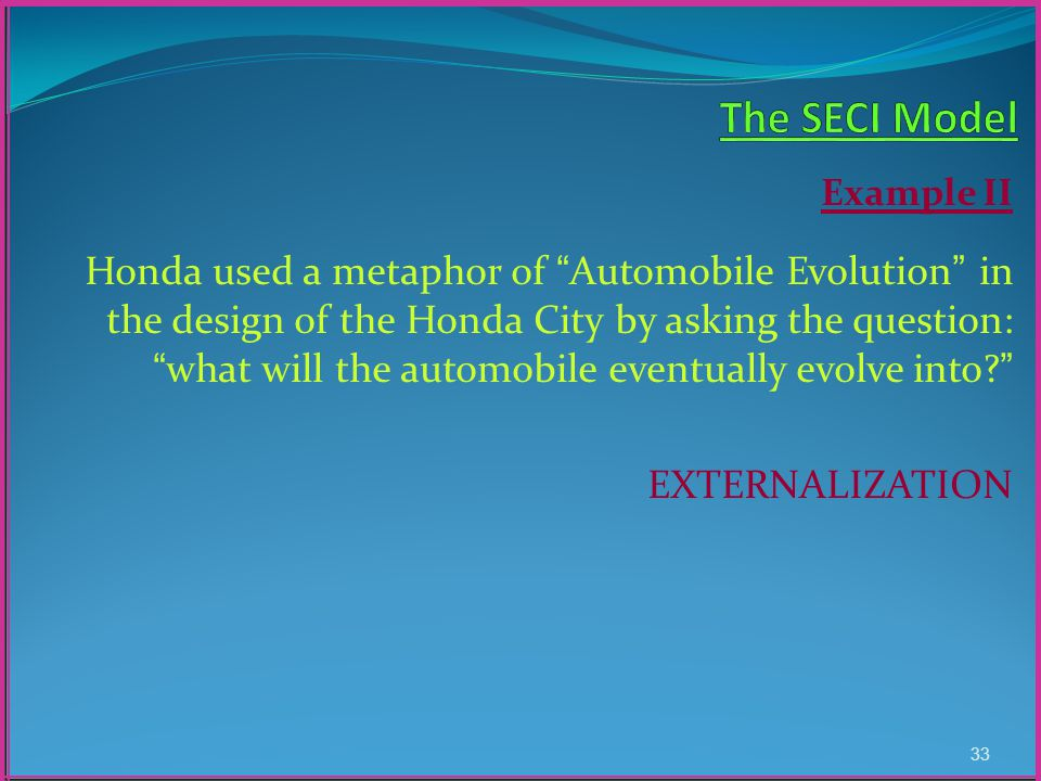 Example II Honda used a metaphor of Automobile Evolution in the design of the Honda City by asking the question: what will the automobile eventually evolve into.