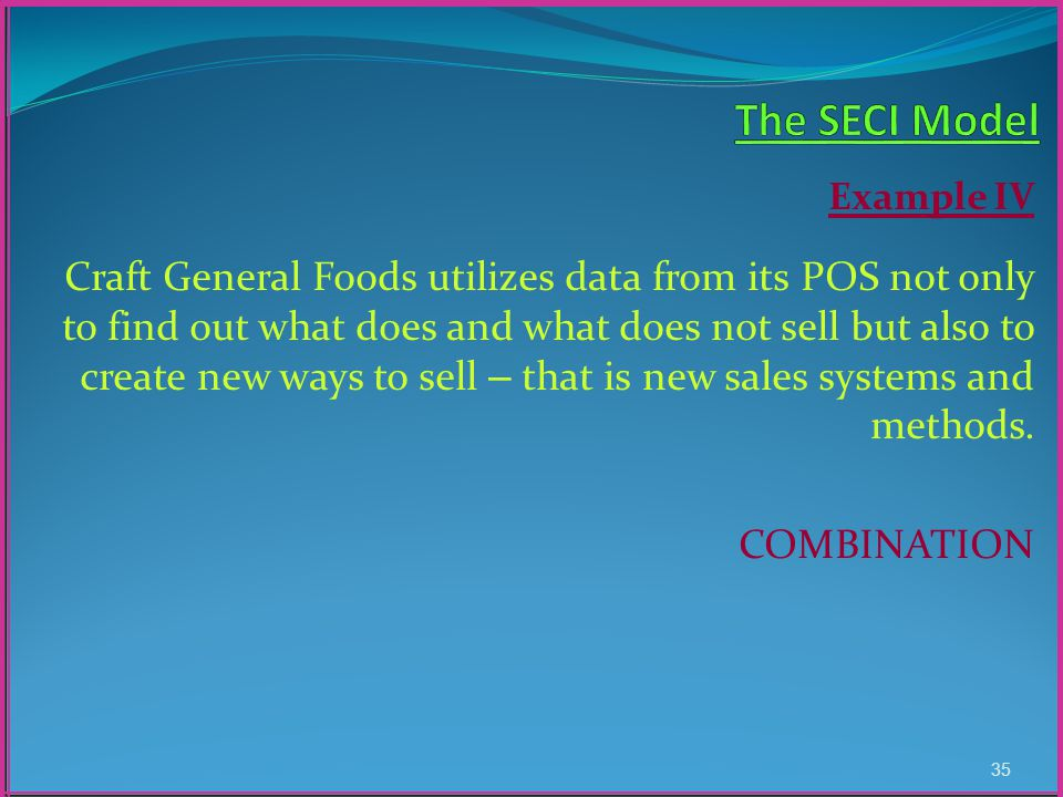 Example IV Craft General Foods utilizes data from its POS not only to find out what does and what does not sell but also to create new ways to sell – that is new sales systems and methods.