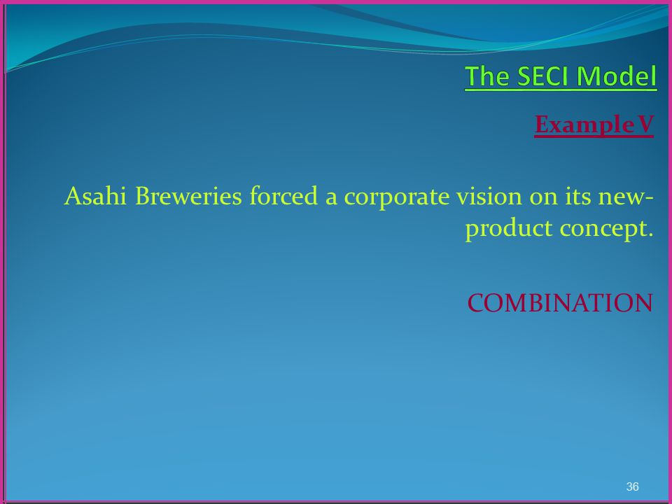 Example V Asahi Breweries forced a corporate vision on its new- product concept. COMBINATION 36