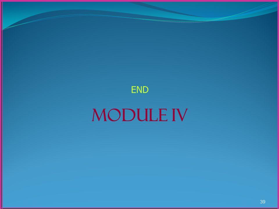 39 END MODULE IV