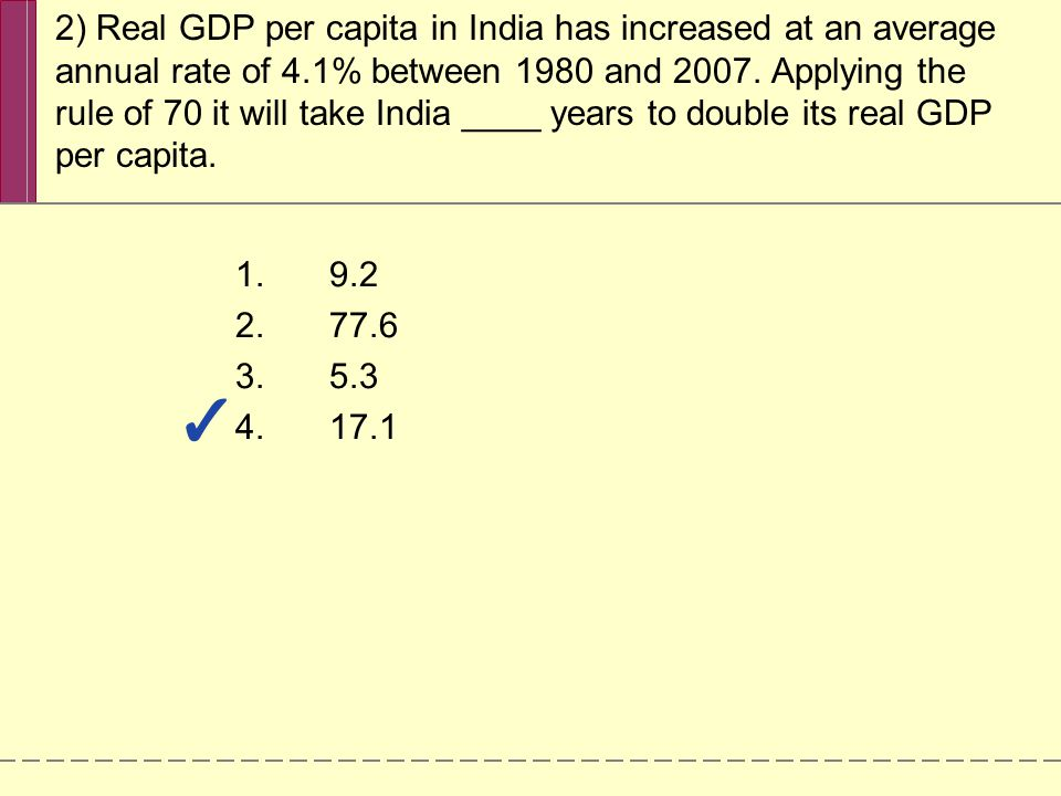 3) China and India have growth rates much higher than the U.S.