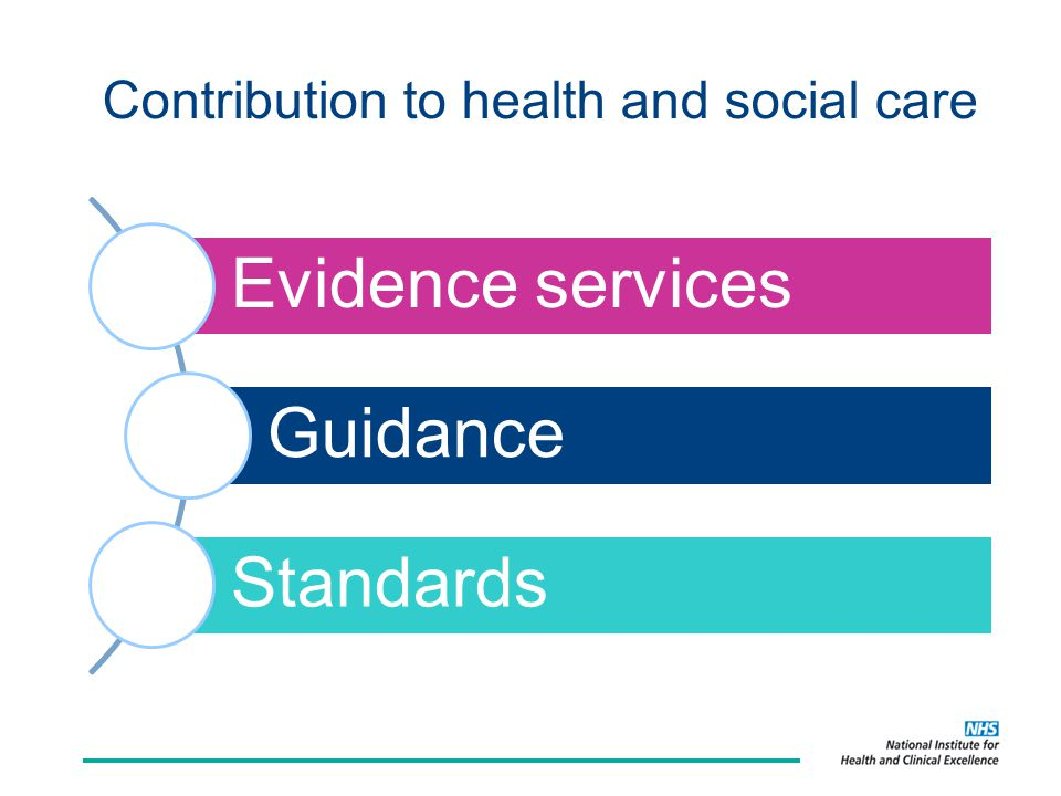 Contribution to health and social care Evidence services Guidance Standards