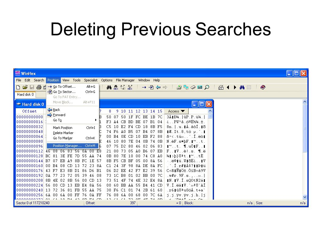Deleting Previous Searches