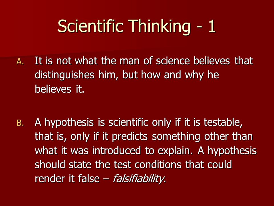 Scientific Thinking - 1 A.