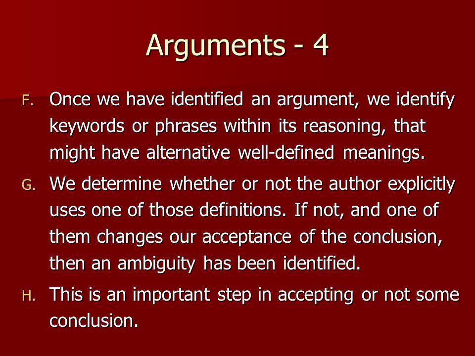 Arguments - 4 F.