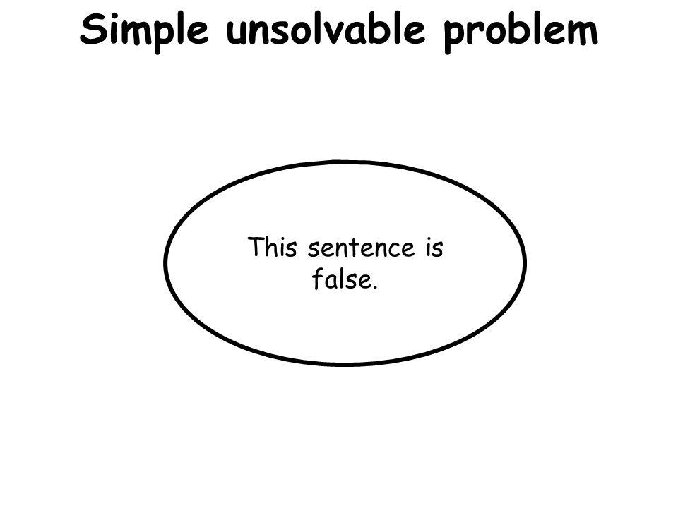 Simple unsolvable problem This sentence is false.