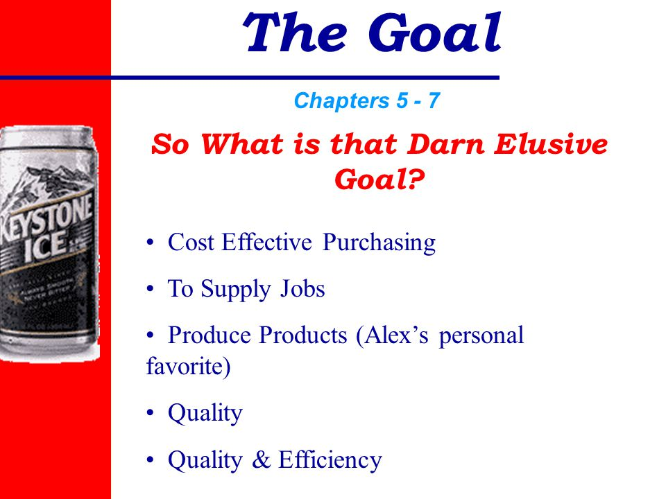 The Goal Chapters 5 - 7 Cost Effective Purchasing To Supply Jobs Produce Products (Alex's personal favorite) Quality Quality & Efficiency So What is that Darn Elusive Goal