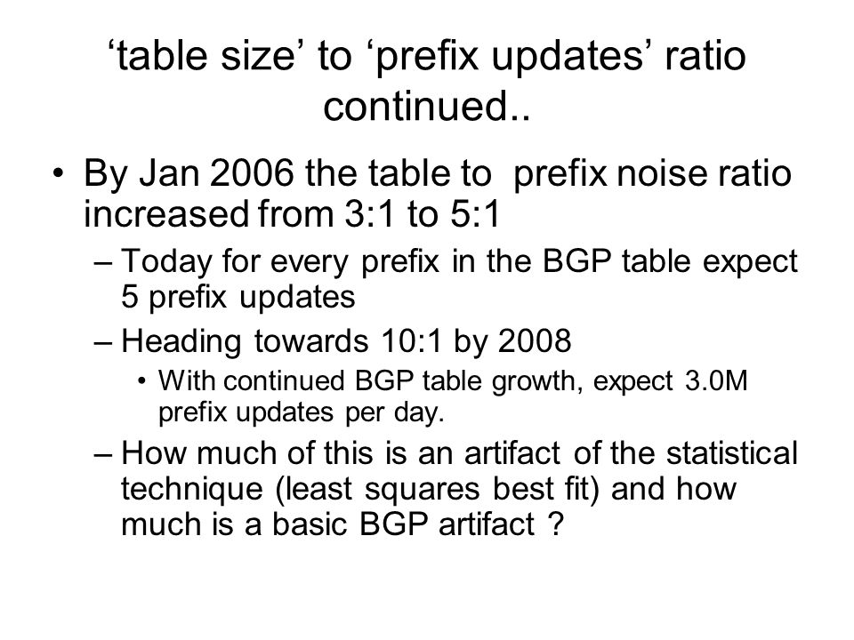 By Jan 2006 the table to prefix noise ratio increased from 3:1 to 5:1 –Today for every prefix in the BGP table expect 5 prefix updates –Heading towards 10:1 by 2008 With continued BGP table growth, expect 3.0M prefix updates per day.