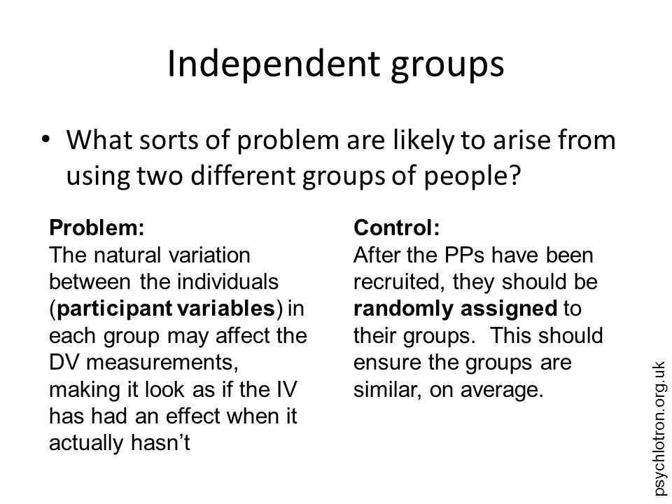 psychlotron.org.uk Independent groups What sorts of problem are likely to arise from using two different groups of people.