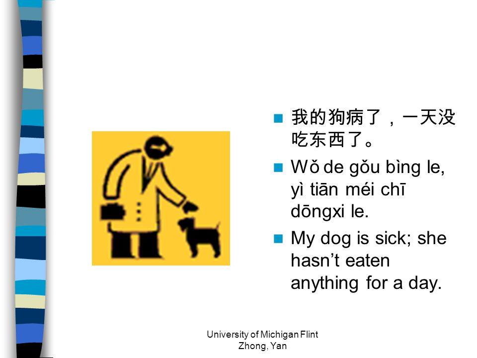 我的狗病了,一天没 吃东西了。 Wǒ de gǒu bìng le, yì tiān méi chī dōngxi le. My dog is sick; she hasn't eaten anything for a day. University of Michigan Flint Zhong,