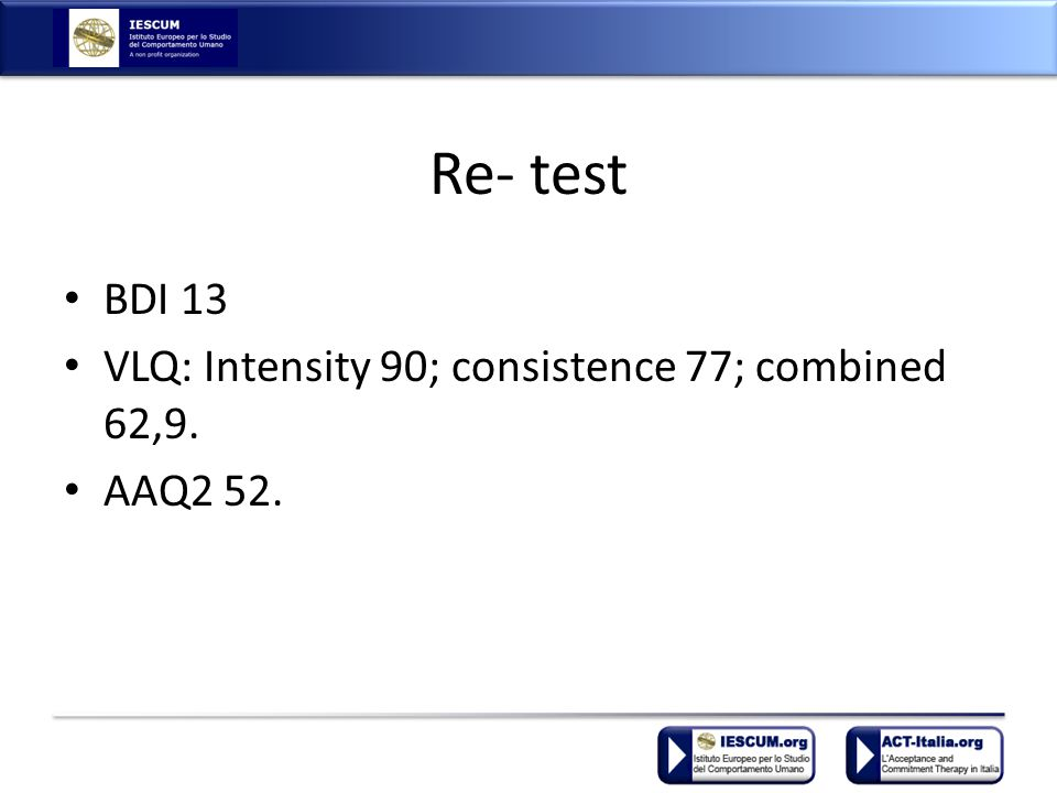 Re- test BDI 13 VLQ: Intensity 90; consistence 77; combined 62,9. AAQ2 52.