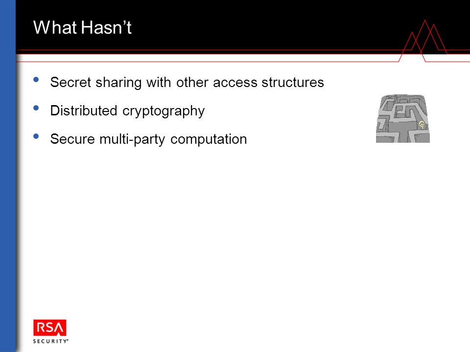 What Hasn't Secret sharing with other access structures Distributed cryptography Secure multi-party computation