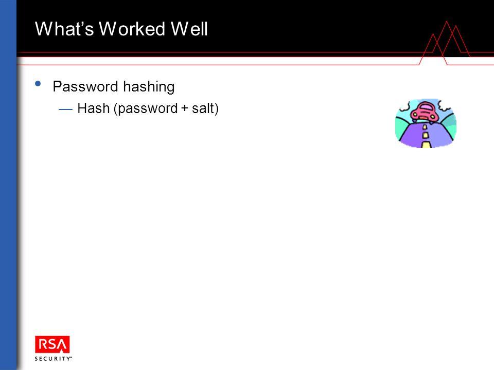 What's Worked Well Password hashing —Hash (password + salt)