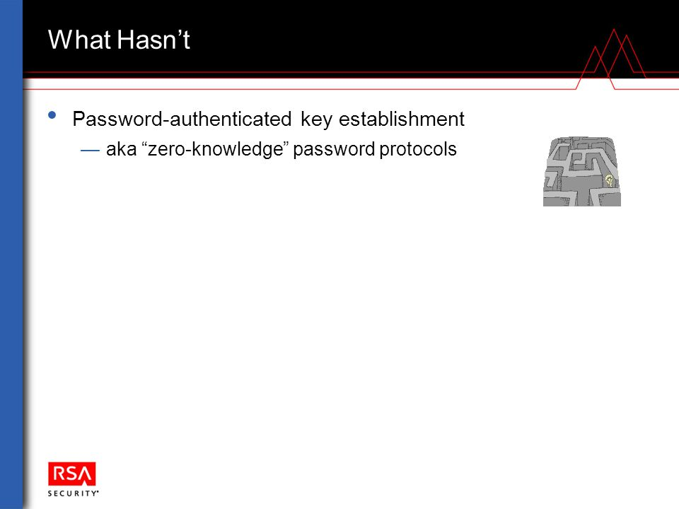 "What Hasn't Password-authenticated key establishment —aka ""zero-knowledge"" password protocols"