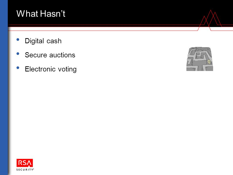 What Hasn't Digital cash Secure auctions Electronic voting