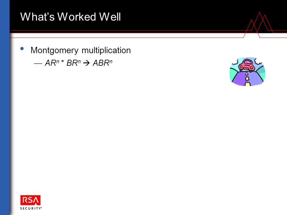 What's Worked Well Montgomery multiplication —AR n * BR n  ABR n