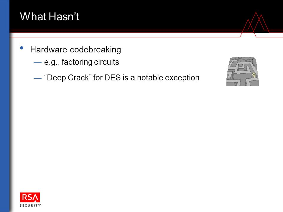 """What Hasn't Hardware codebreaking —e.g., factoring circuits —""""Deep Crack"""" for DES is a notable exception"""