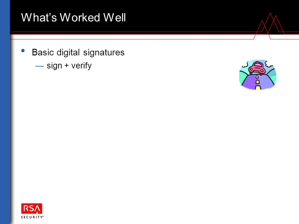What's Worked Well Basic digital signatures —sign + verify