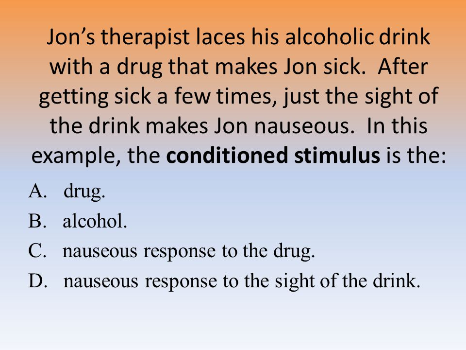 Jon's therapist laces his alcoholic drink with a drug that makes Jon sick.