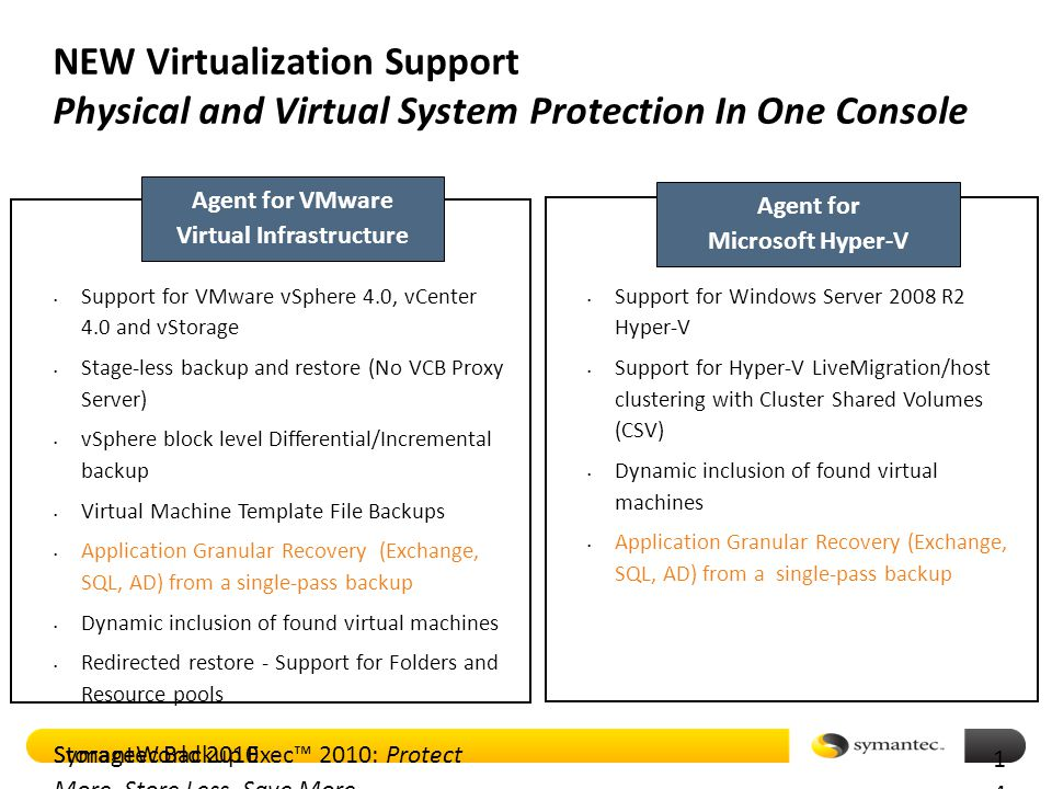 Symantec Backup Exec™ 2010: Protect More, Store Less, Save More NEW Virtualization Support Physical and Virtual System Protection In One Console Agent for VMware Virtual Infrastructure Agent for Microsoft Hyper-V Support for VMware vSphere 4.0, vCenter 4.0 and vStorage Stage-less backup and restore (No VCB Proxy Server) vSphere block level Differential/Incremental backup Virtual Machine Template File Backups Application Granular Recovery (Exchange, SQL, AD) from a single-pass backup Dynamic inclusion of found virtual machines Redirected restore - Support for Folders and Resource pools Support for Windows Server 2008 R2 Hyper-V Support for Hyper-V LiveMigration/host clustering with Cluster Shared Volumes (CSV) Dynamic inclusion of found virtual machines Application Granular Recovery (Exchange, SQL, AD) from a single-pass backup StorageWorld 2010 1414